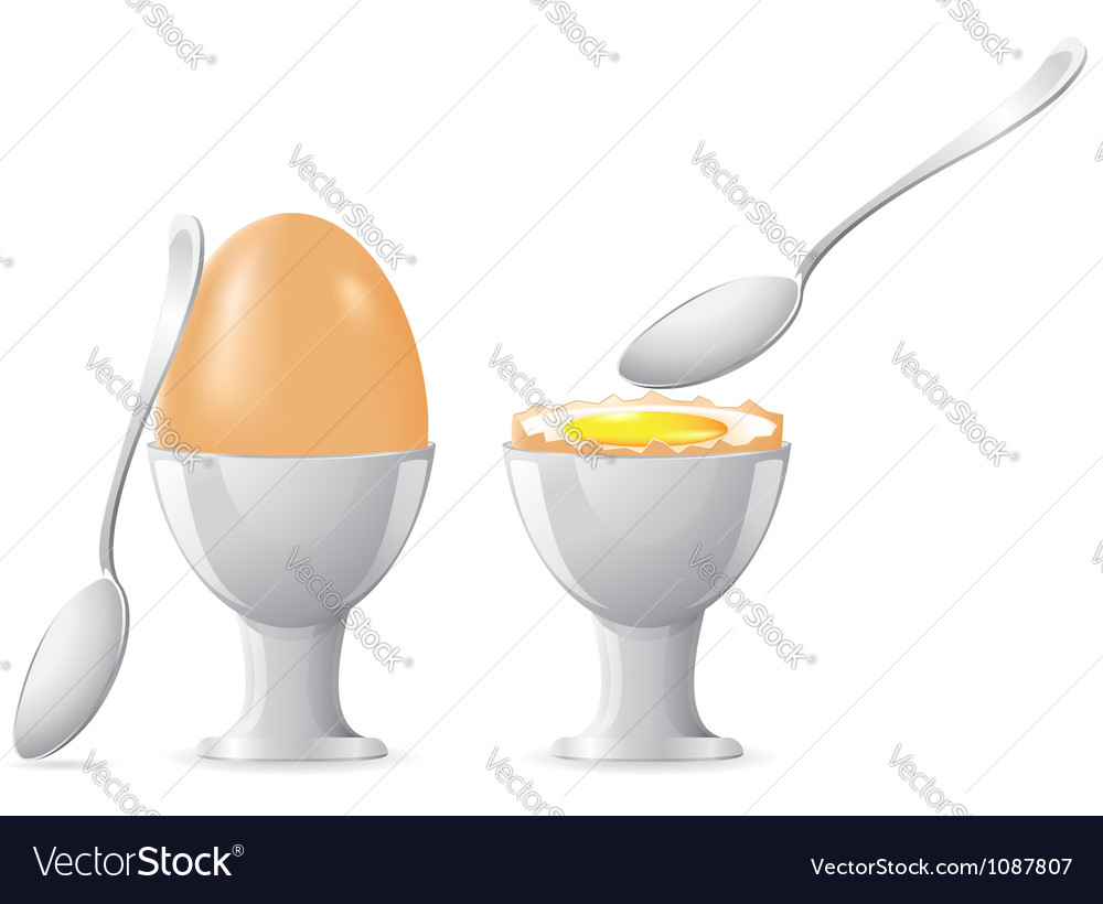 Egg on a stand with a spoon vector | Price: 1 Credit (USD $1)