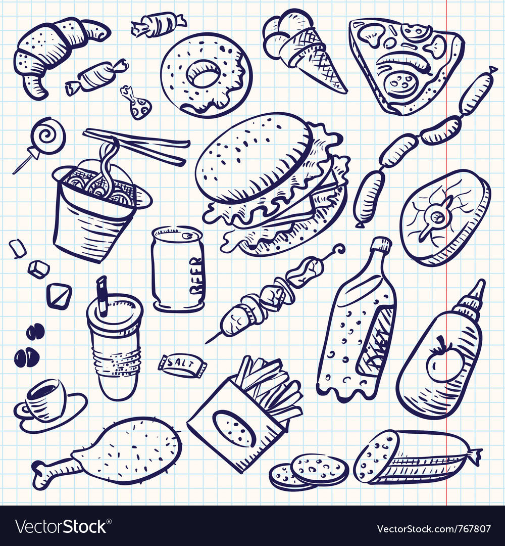 Fast food doodle set vector | Price: 1 Credit (USD $1)