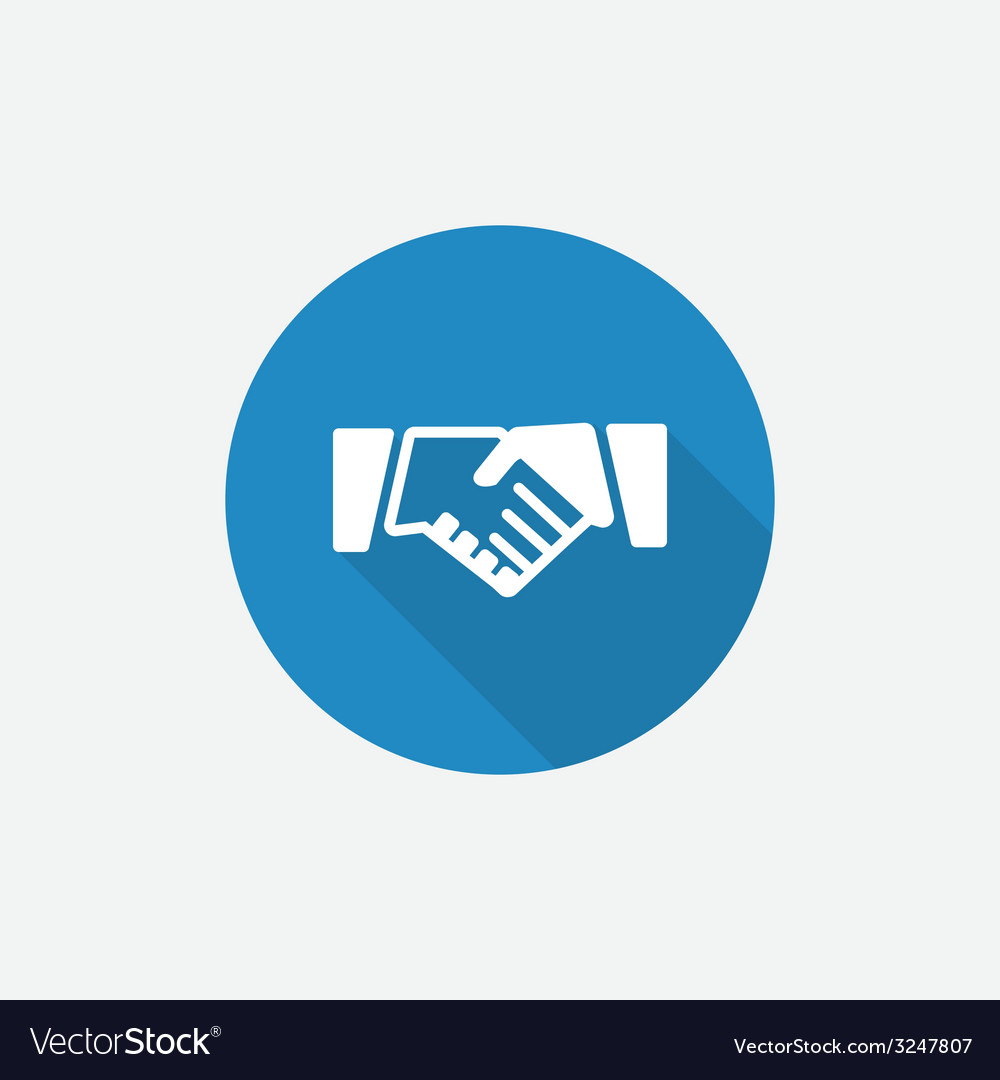 Handshake flat blue simple icon with long shadow vector | Price: 1 Credit (USD $1)