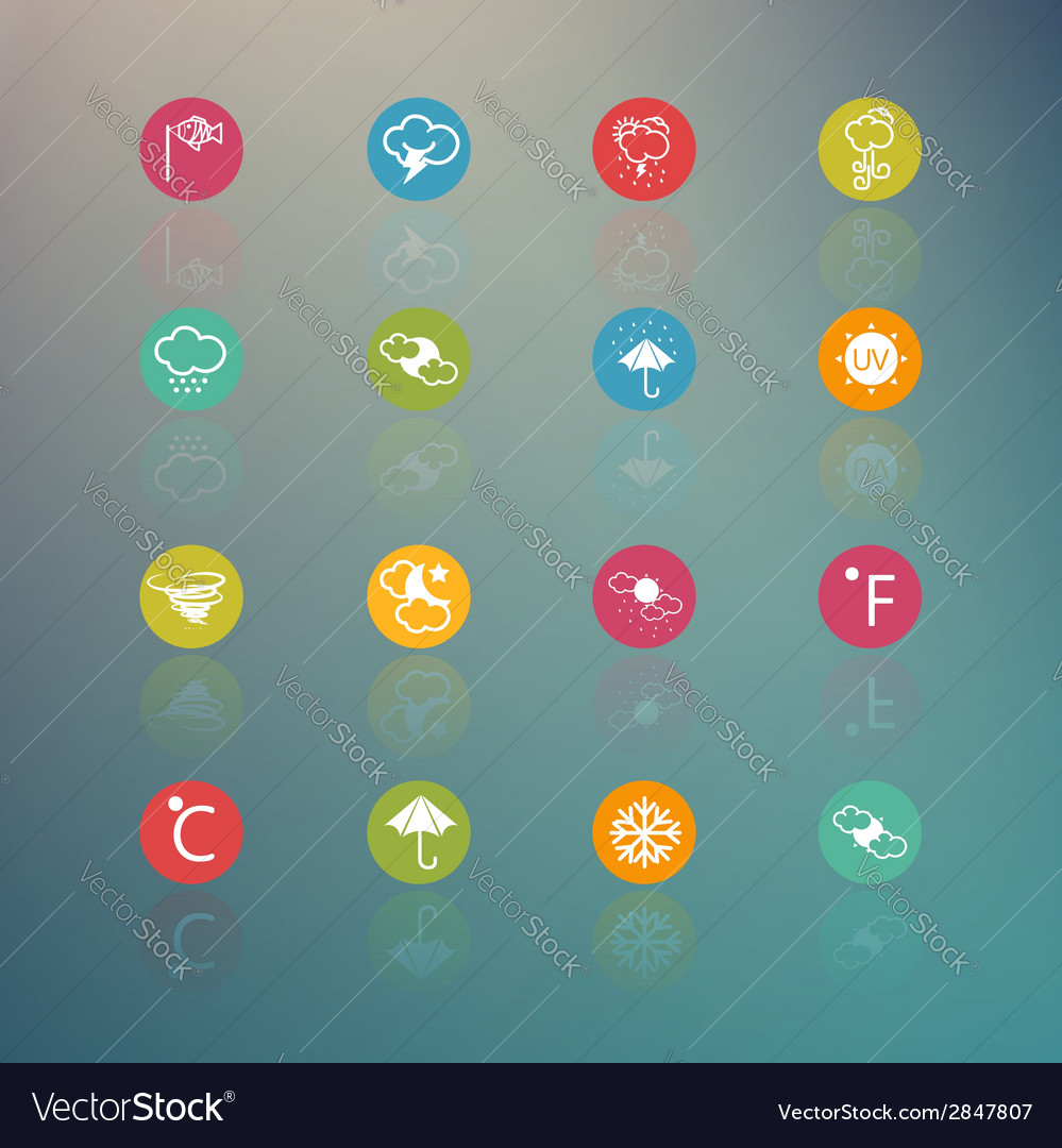 Icons weather circle series on retina background vector | Price: 1 Credit (USD $1)
