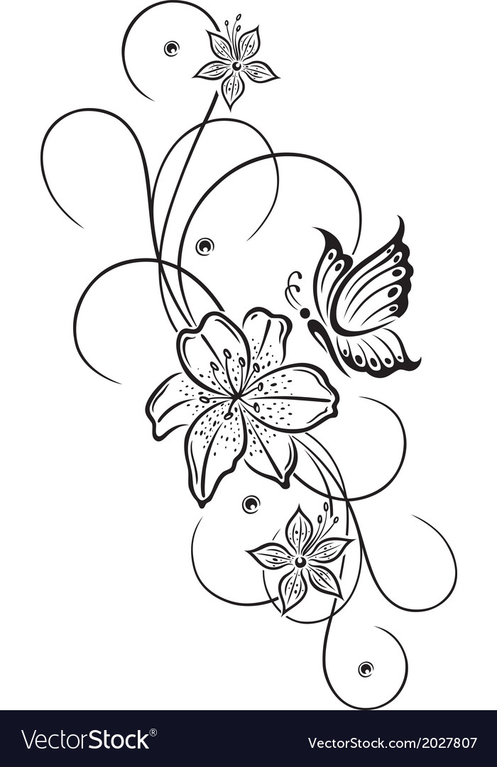 Lily butterfly vector | Price: 1 Credit (USD $1)