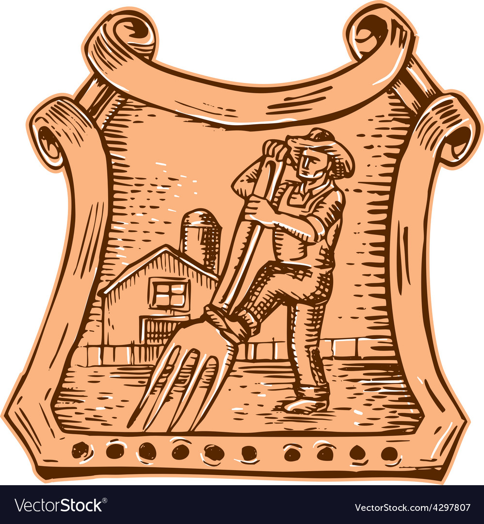 Organic farmer farm to fork etching vector | Price: 1 Credit (USD $1)