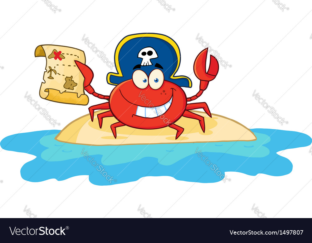 Pirate crab holding a treasure map on island vector | Price: 1 Credit (USD $1)