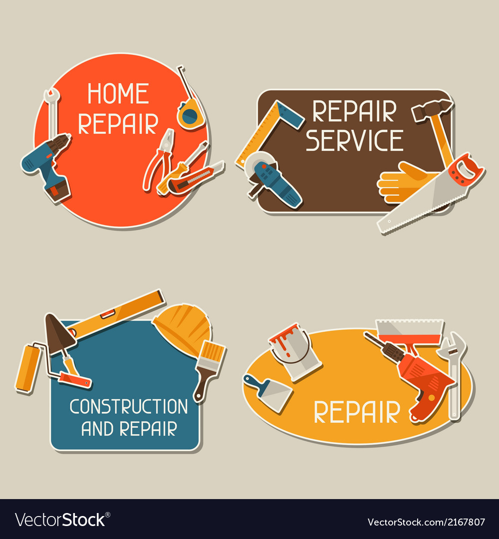 Repair and construction stickers set with working vector | Price: 1 Credit (USD $1)