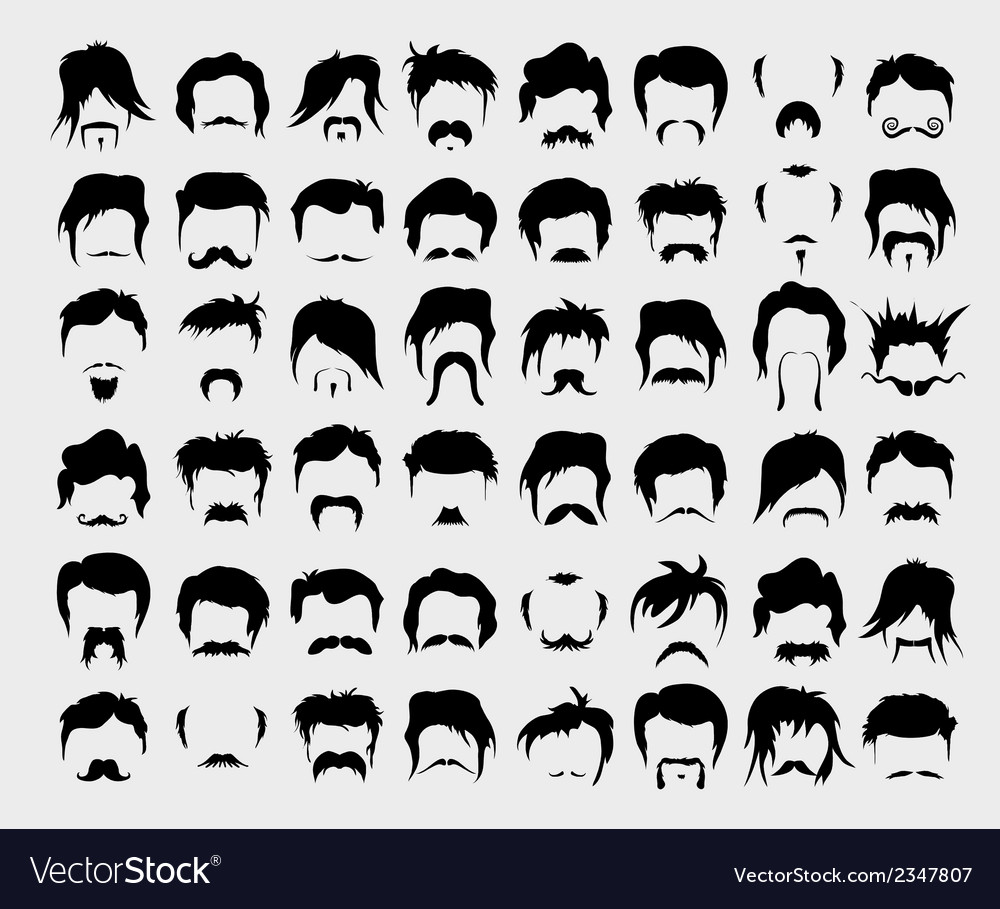 Set hair mustache beard vector | Price: 1 Credit (USD $1)