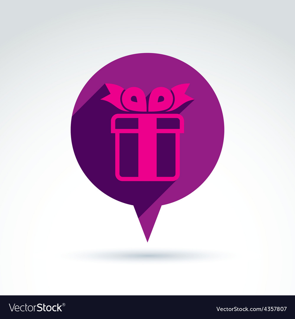 Speech bubble with a purple gift box sign present vector   Price: 1 Credit (USD $1)
