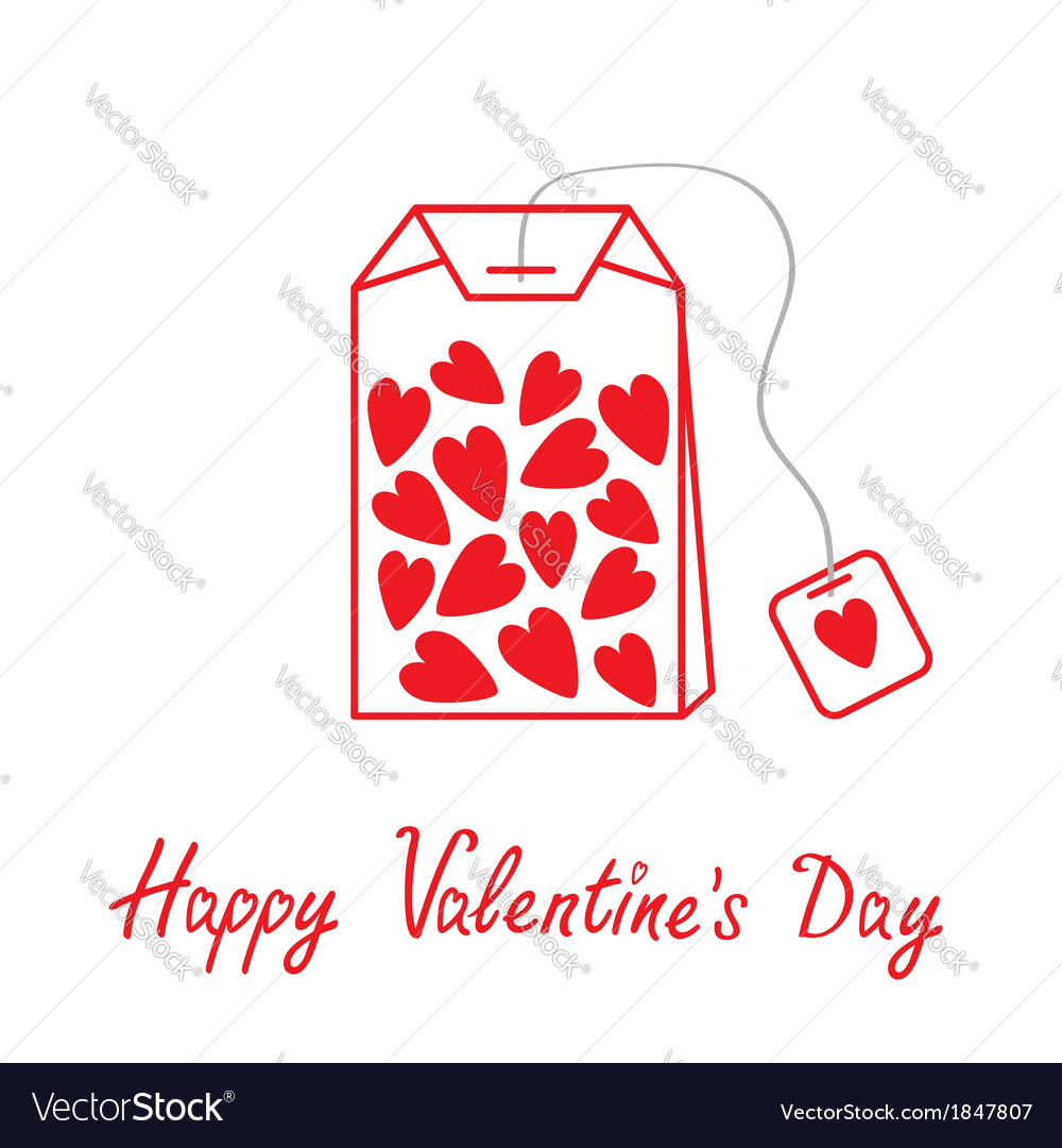 Teabag with hearts happy valentines day vector | Price: 1 Credit (USD $1)