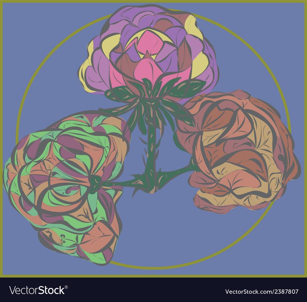 Three flower on purple background vector   Price: 1 Credit (USD $1)