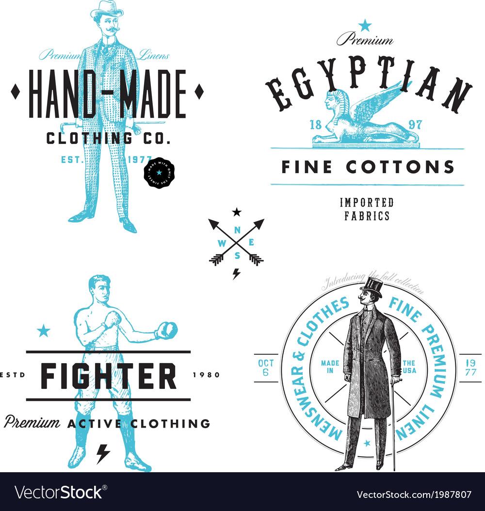 Vintage clothing labels vector