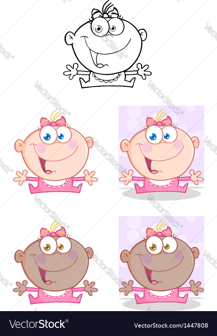 Baby girl with open arms collection vector | Price: 3 Credit (USD $3)