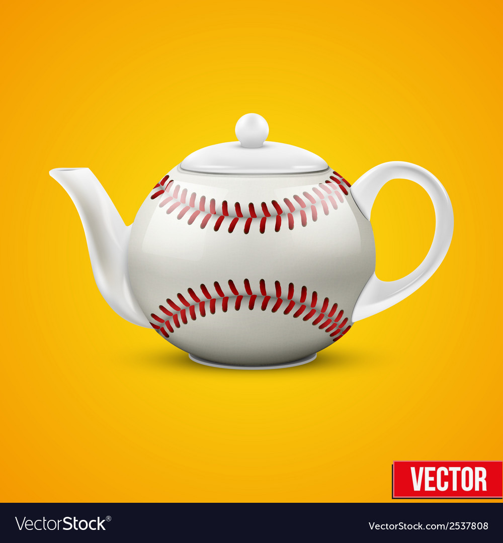 Ceramic teapot in baseball ball style vector | Price: 1 Credit (USD $1)