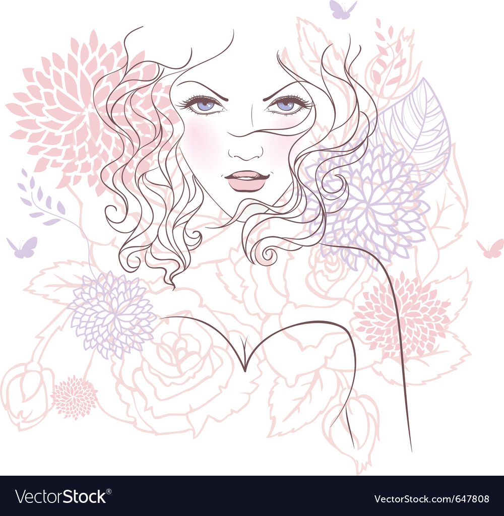 Face flower vector | Price: 1 Credit (USD $1)