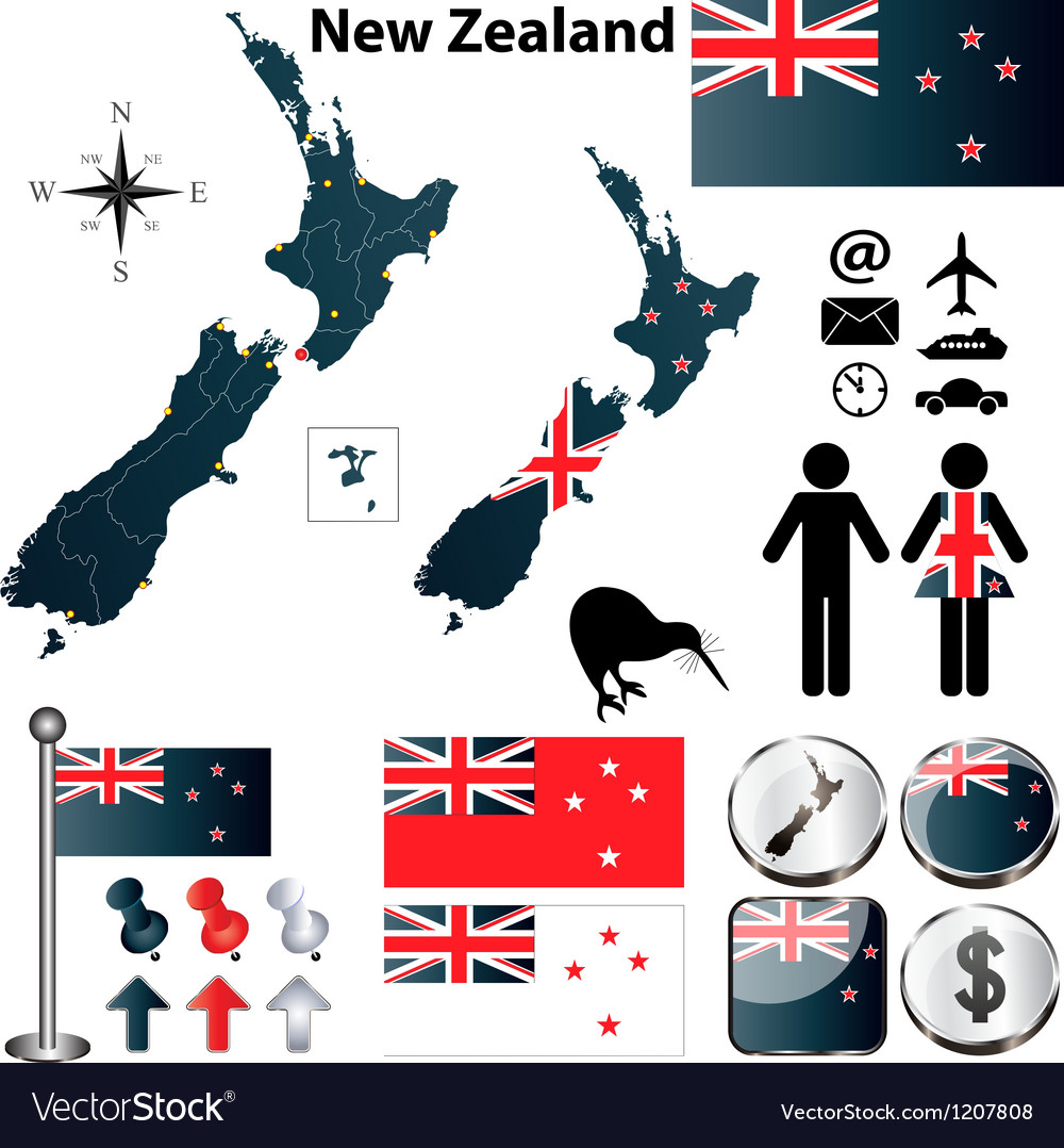 New zealand map vector   Price: 1 Credit (USD $1)