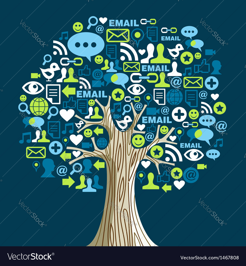 Social media networks tree vector | Price: 1 Credit (USD $1)