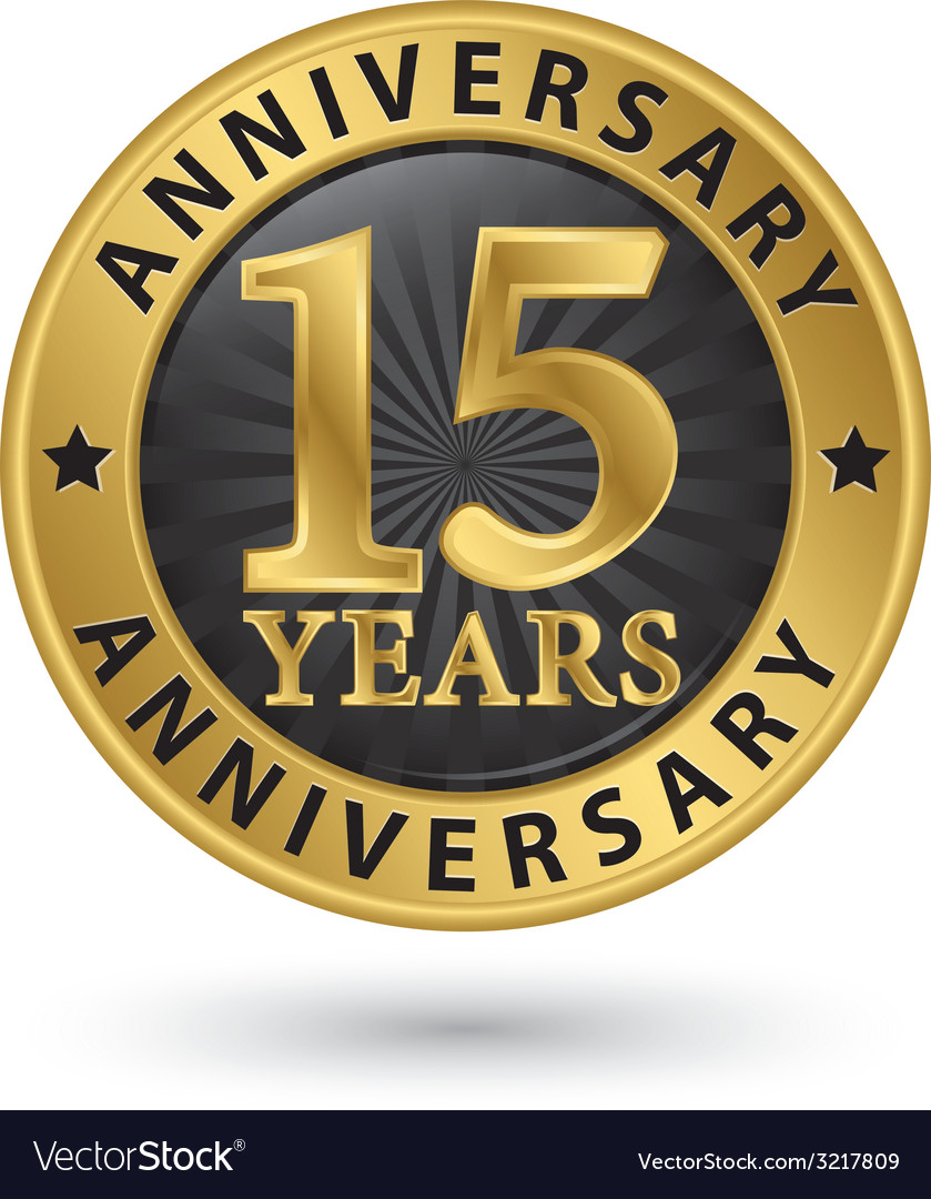 15 years anniversary gold label vector | Price: 1 Credit (USD $1)