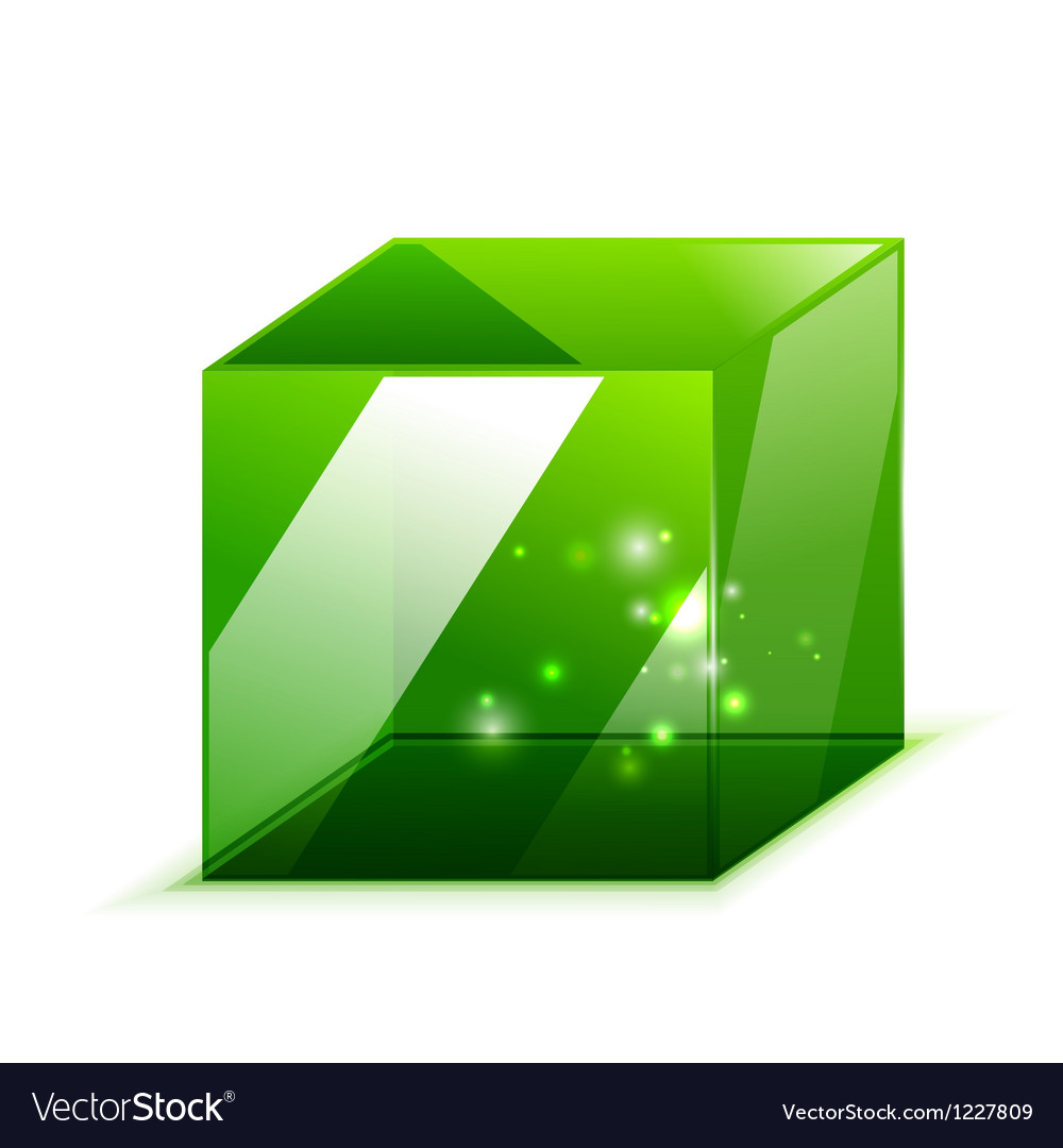 3d glass cube isolated on white vector | Price: 1 Credit (USD $1)
