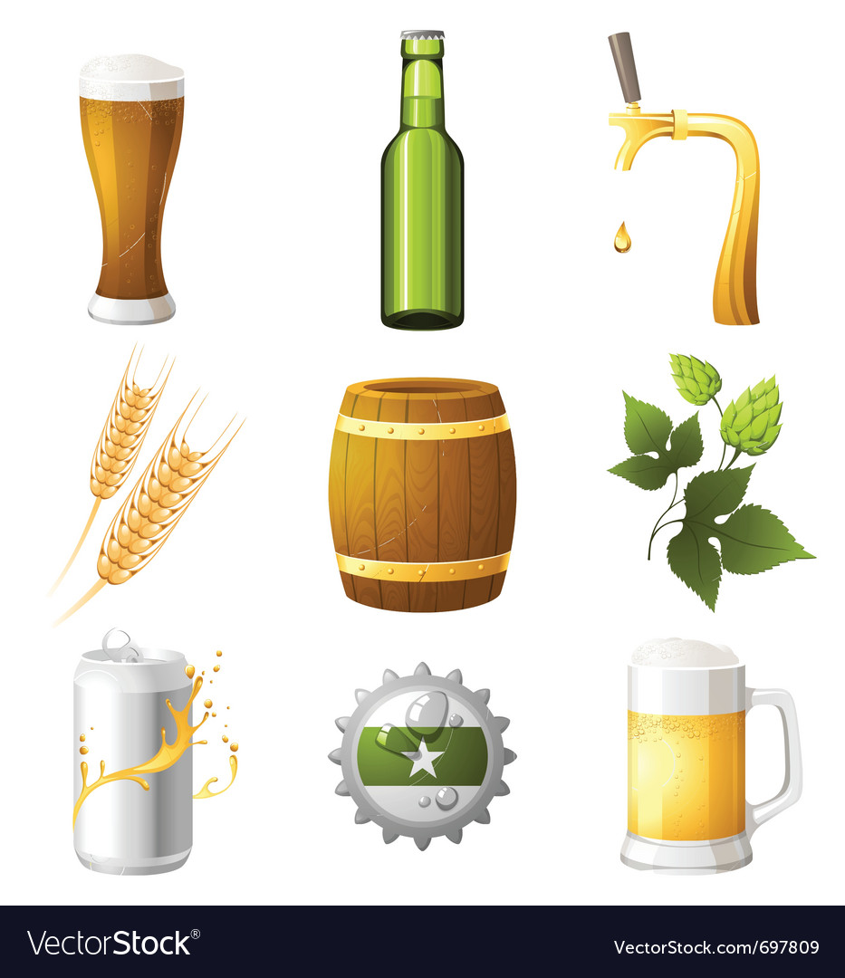 9 highly detailed beer icons vector | Price: 3 Credit (USD $3)