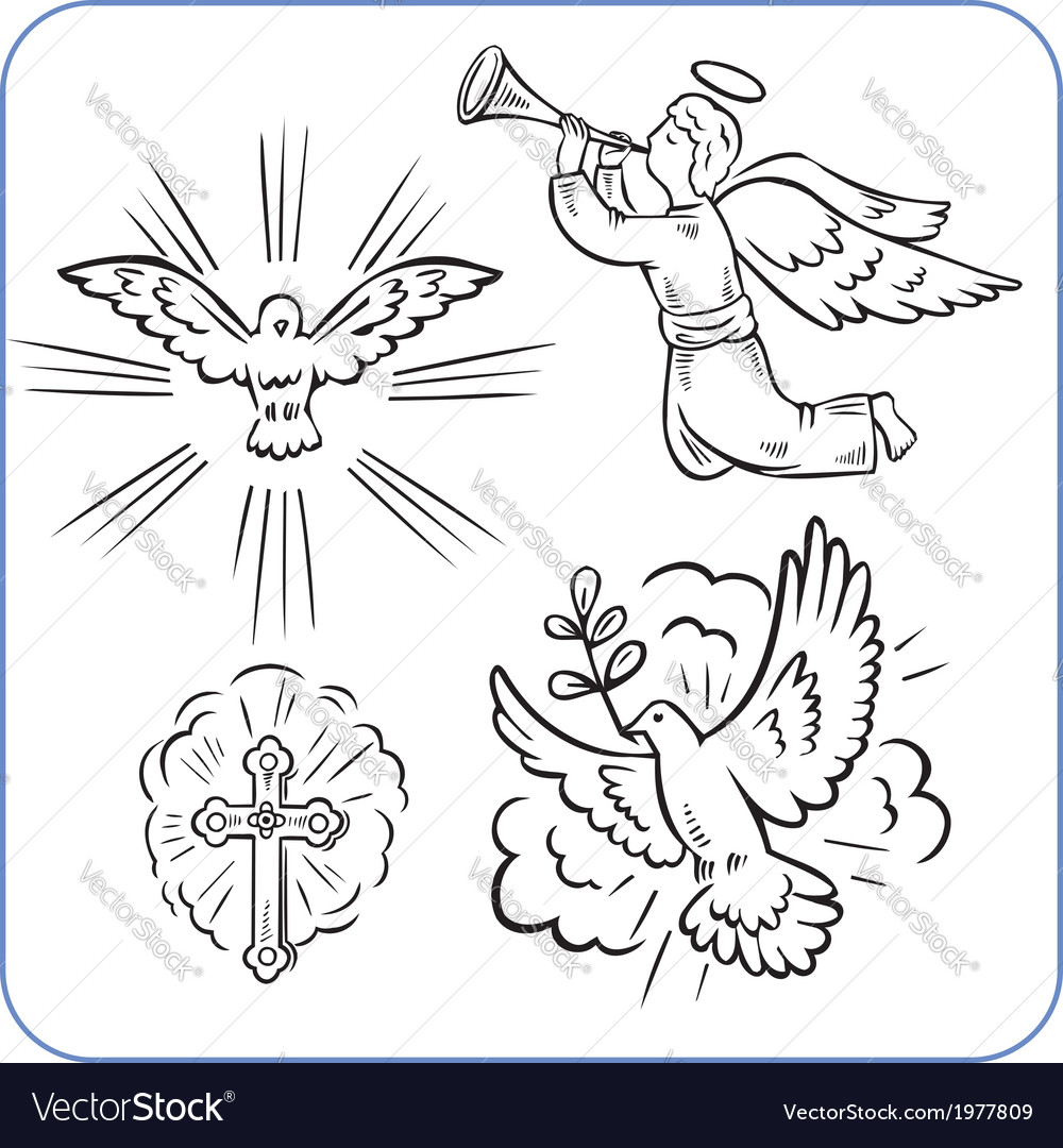 Angels and doves - vector | Price: 1 Credit (USD $1)