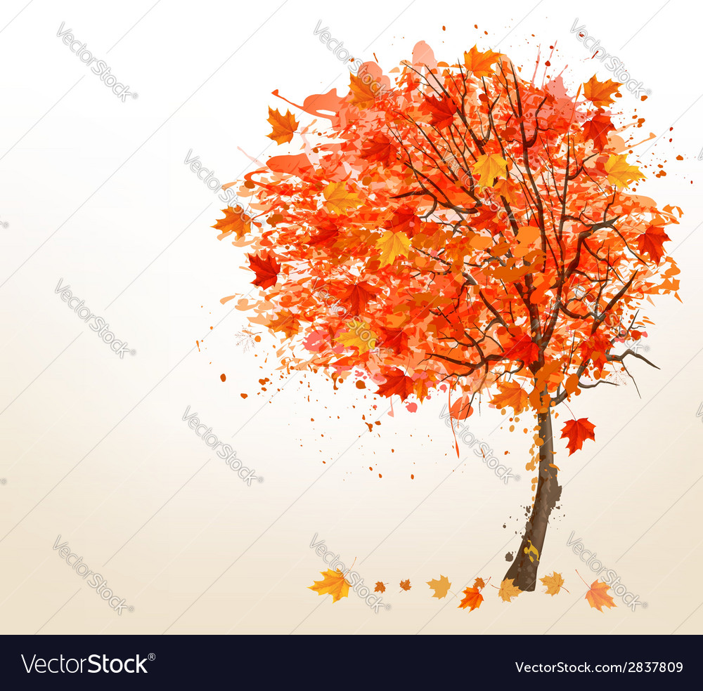 Autumn background with colorful leaves and a tree vector | Price: 1 Credit (USD $1)