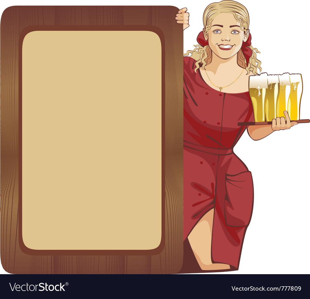 Blond waitress beer vector | Price: 1 Credit (USD $1)
