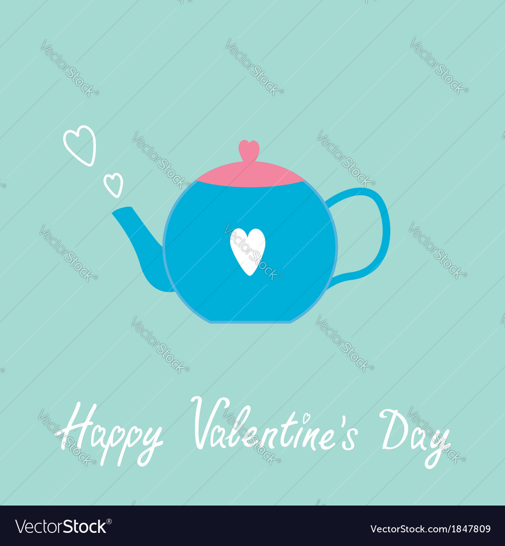 Blue and pink teapot with hearts valentines day vector | Price: 1 Credit (USD $1)