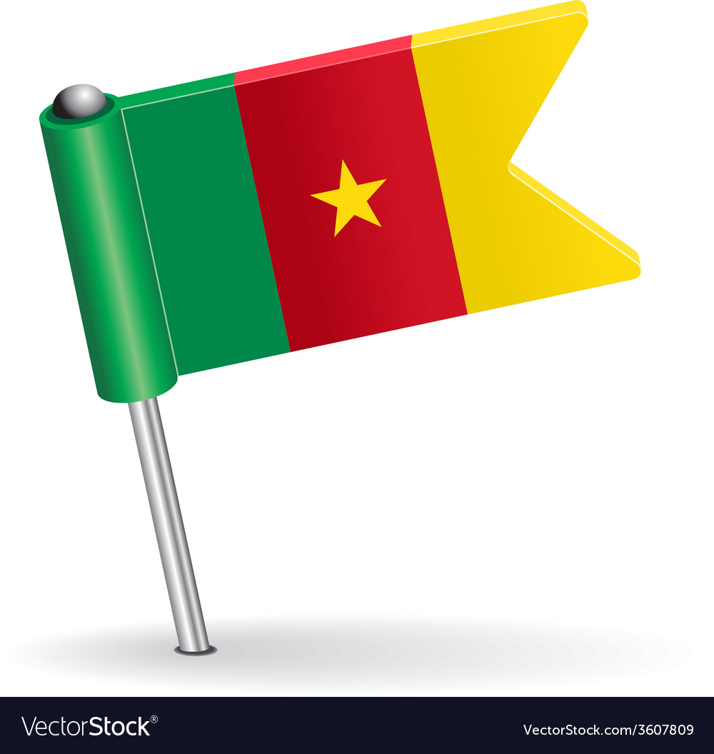 Cameroon pin icon flag vector | Price: 1 Credit (USD $1)