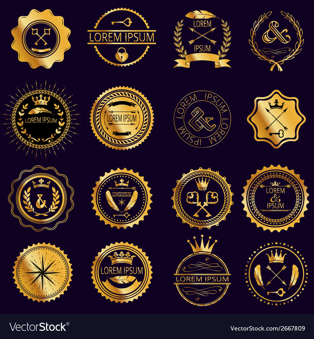 Collection of vintage round golden badges vector | Price: 1 Credit (USD $1)