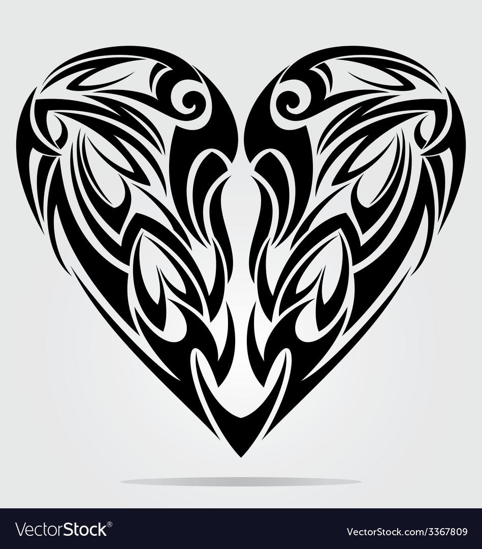 Heart tattoo design vector | Price: 1 Credit (USD $1)