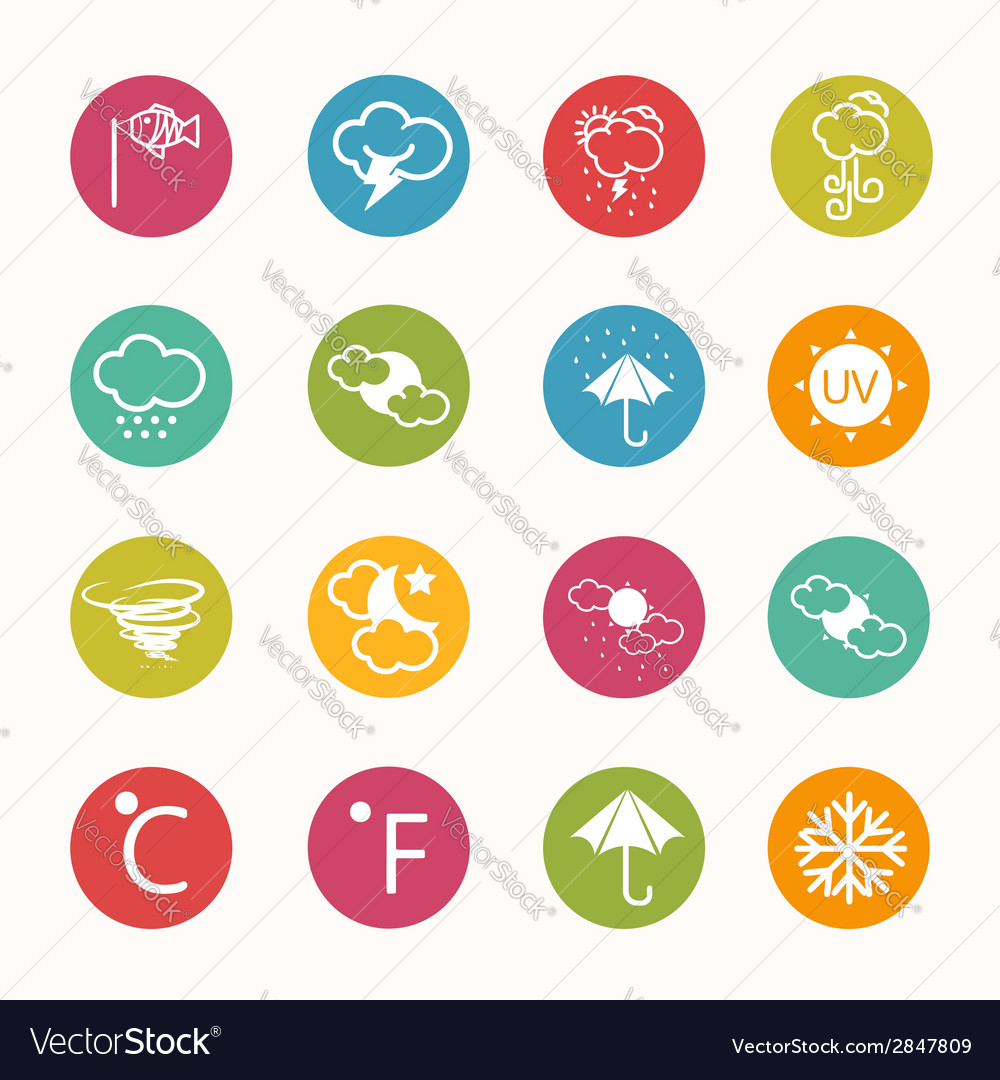 Icons weather circle series vector | Price: 1 Credit (USD $1)