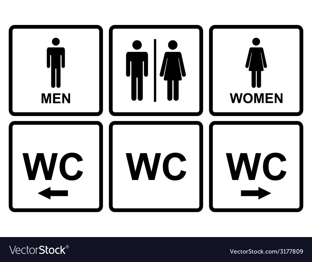Male and female wc icon denoting toilet and vector | Price: 1 Credit (USD $1)