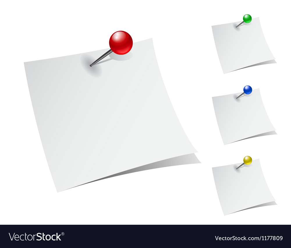 Note papers with push pins vector | Price: 1 Credit (USD $1)