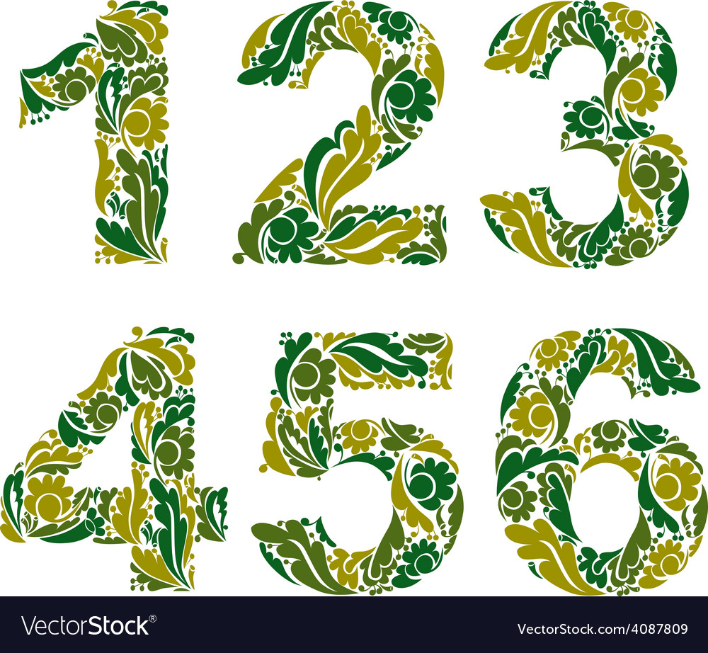 Numeration decorated with seasonal green leaves 1 vector | Price: 1 Credit (USD $1)