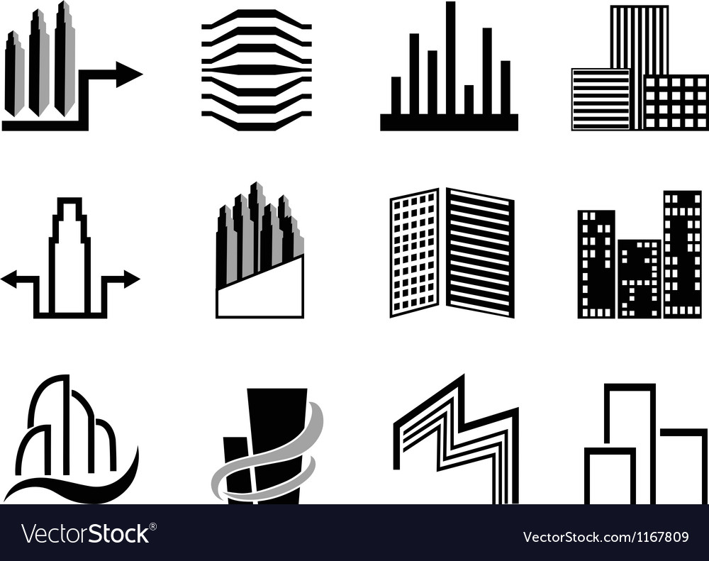 Real estate and city buildings symbol vector | Price: 1 Credit (USD $1)