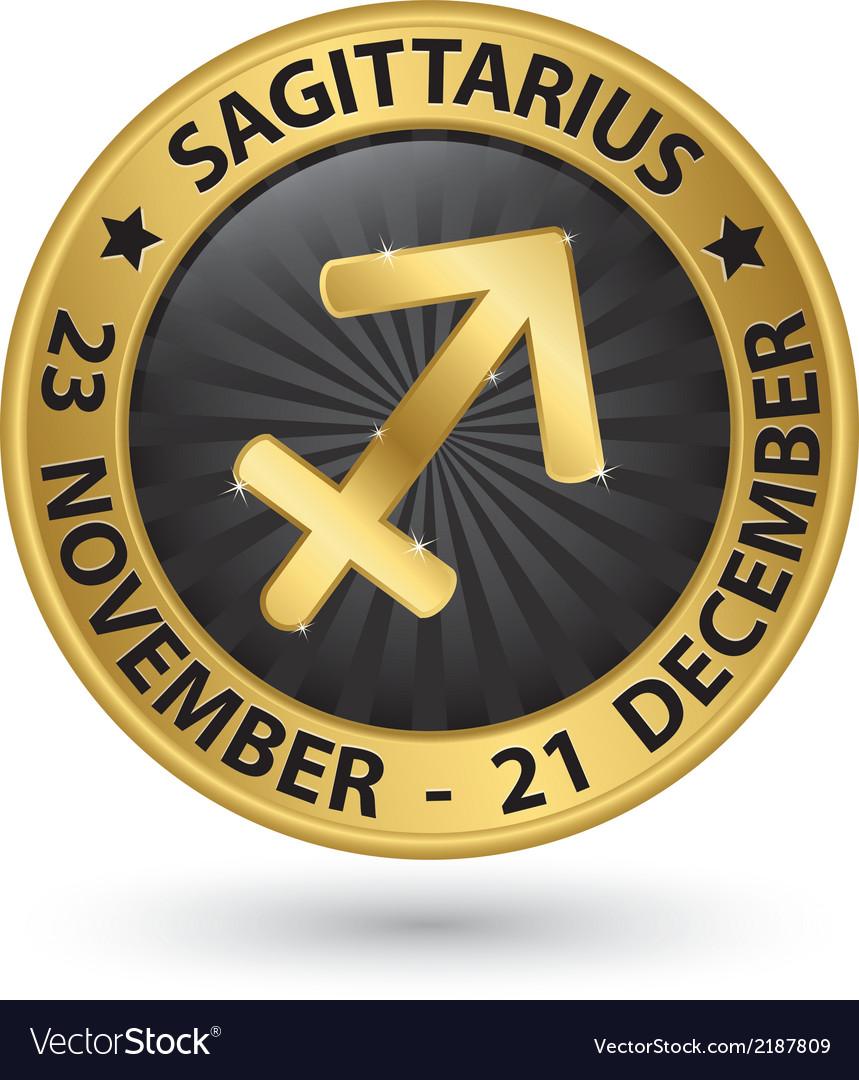 Sagittarius zodiac gold sign sagittarius symbol vector | Price: 1 Credit (USD $1)