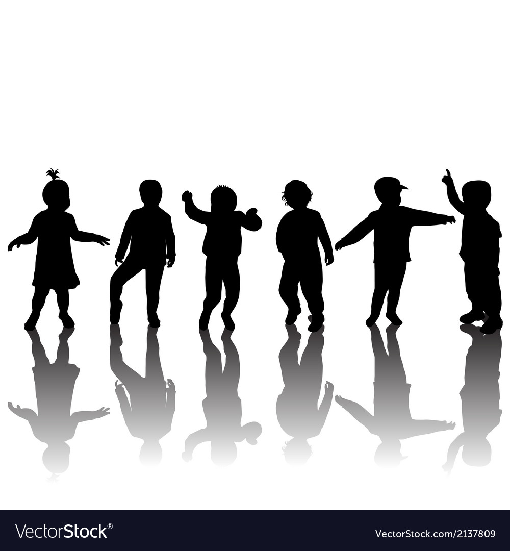 Silhouettes of children and shadows vector | Price: 1 Credit (USD $1)