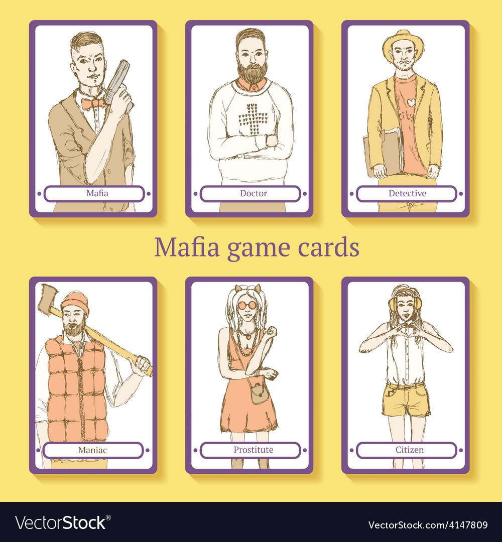 Sketch mafia cards in vintage style vector | Price: 1 Credit (USD $1)