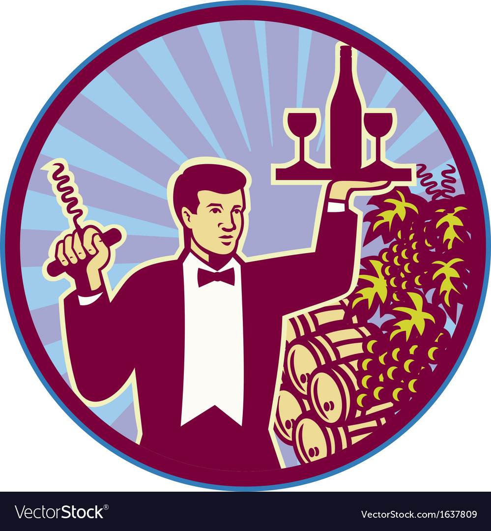 Waiter serving wine glass bottle retro vector | Price: 1 Credit (USD $1)