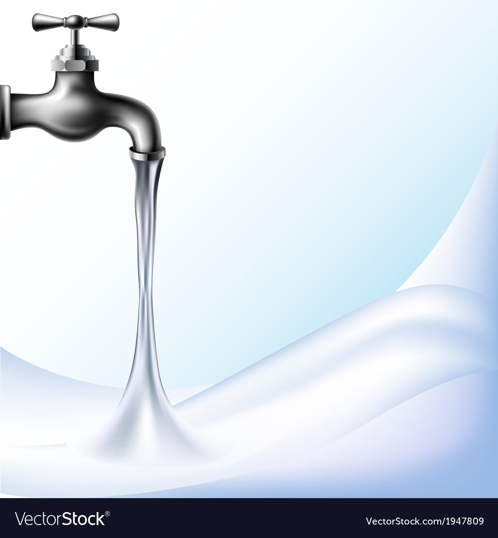 Water background with tap vector | Price: 1 Credit (USD $1)
