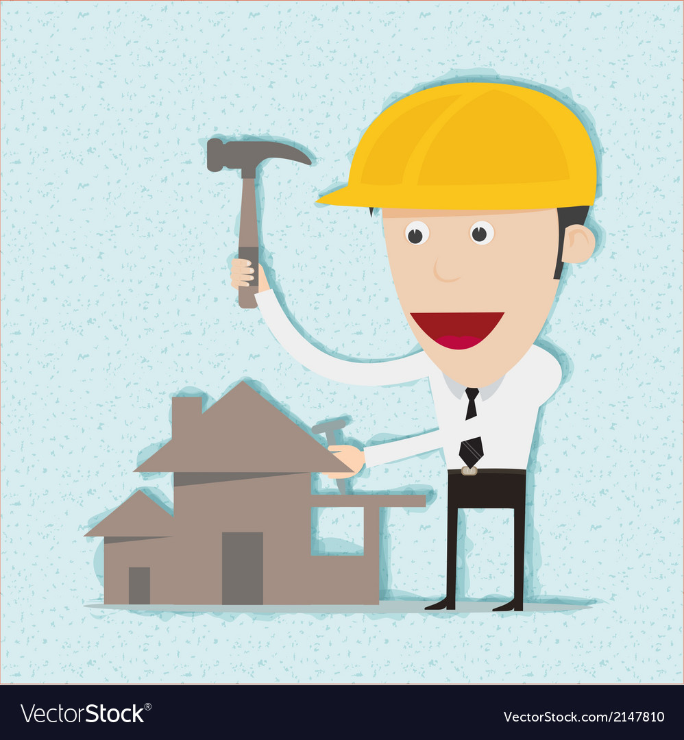 Business man and engineer build home vector | Price: 1 Credit (USD $1)
