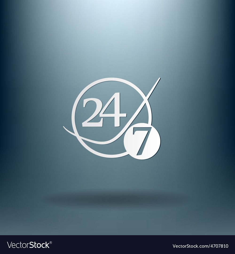 Character 24 7 open 24 hours a day and 7 days a vector   Price: 1 Credit (USD $1)