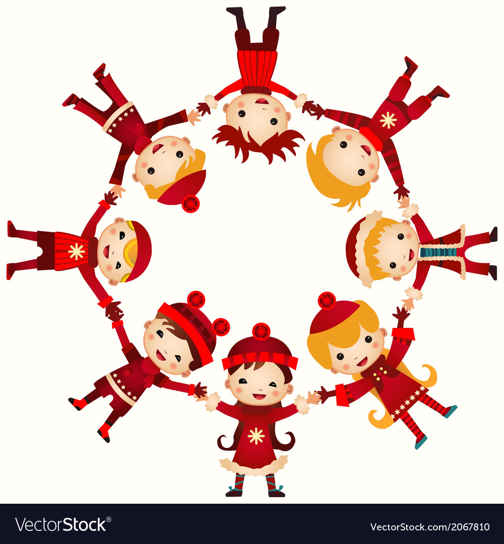 Christmas children in circle isolated on white vector | Price: 1 Credit (USD $1)