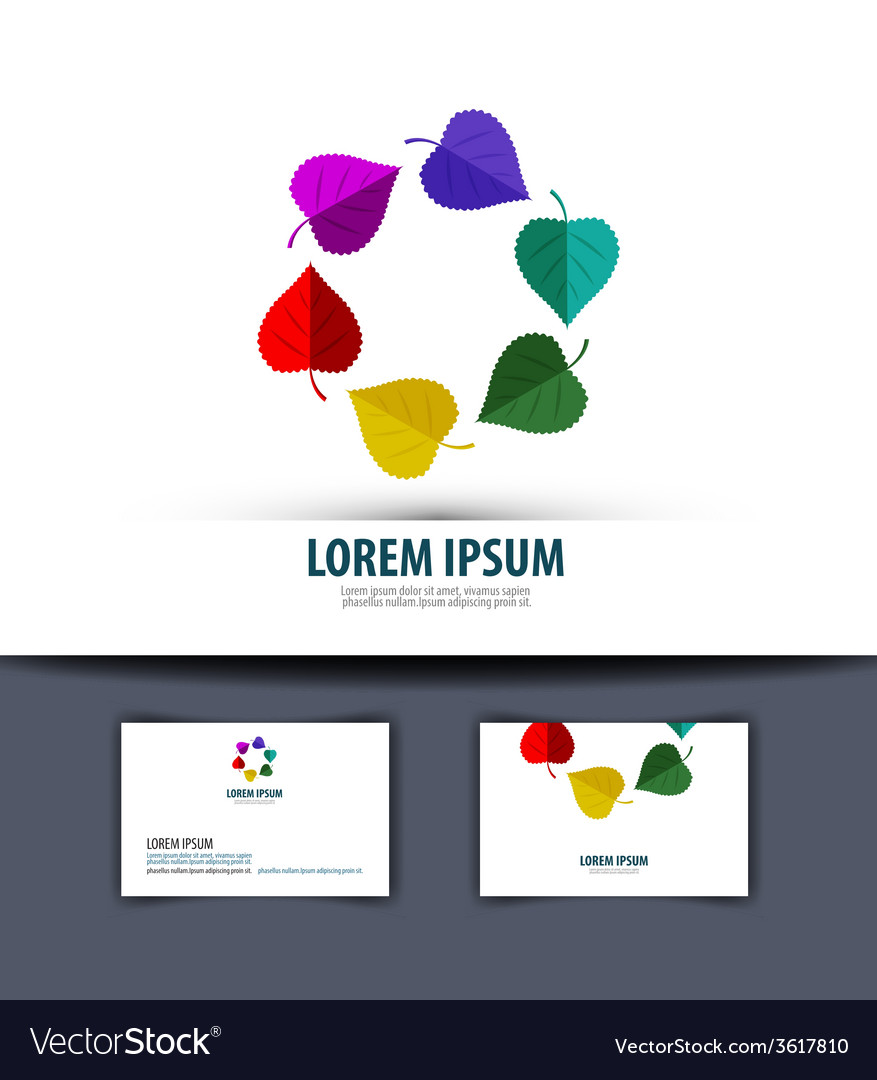 Colored leaves in a circle logo icon emblem vector | Price: 1 Credit (USD $1)