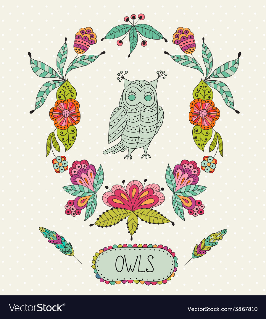 Cute cartoon owls in frame of leaves and vector