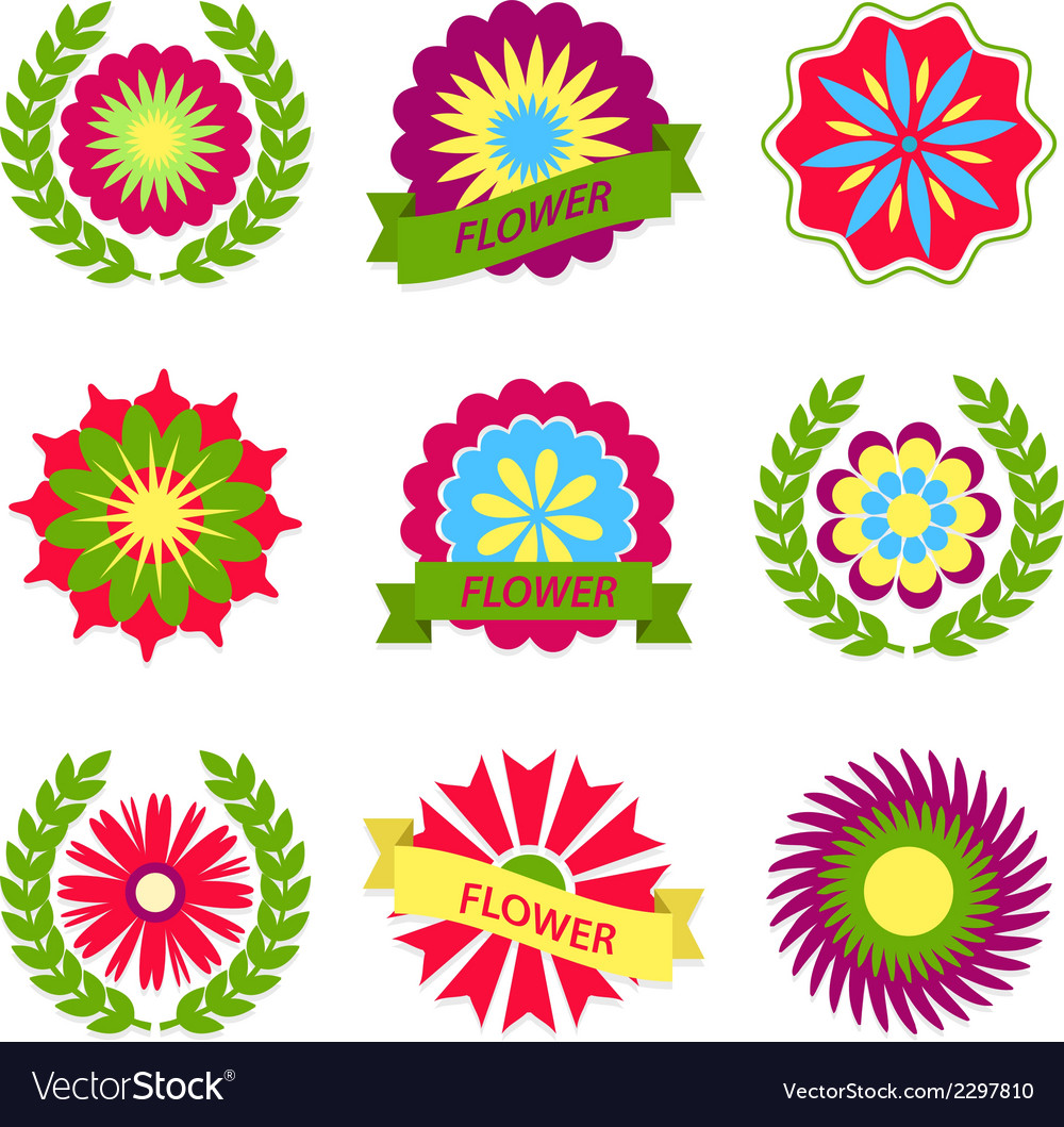 Flowers ribbons and labels vector | Price: 1 Credit (USD $1)