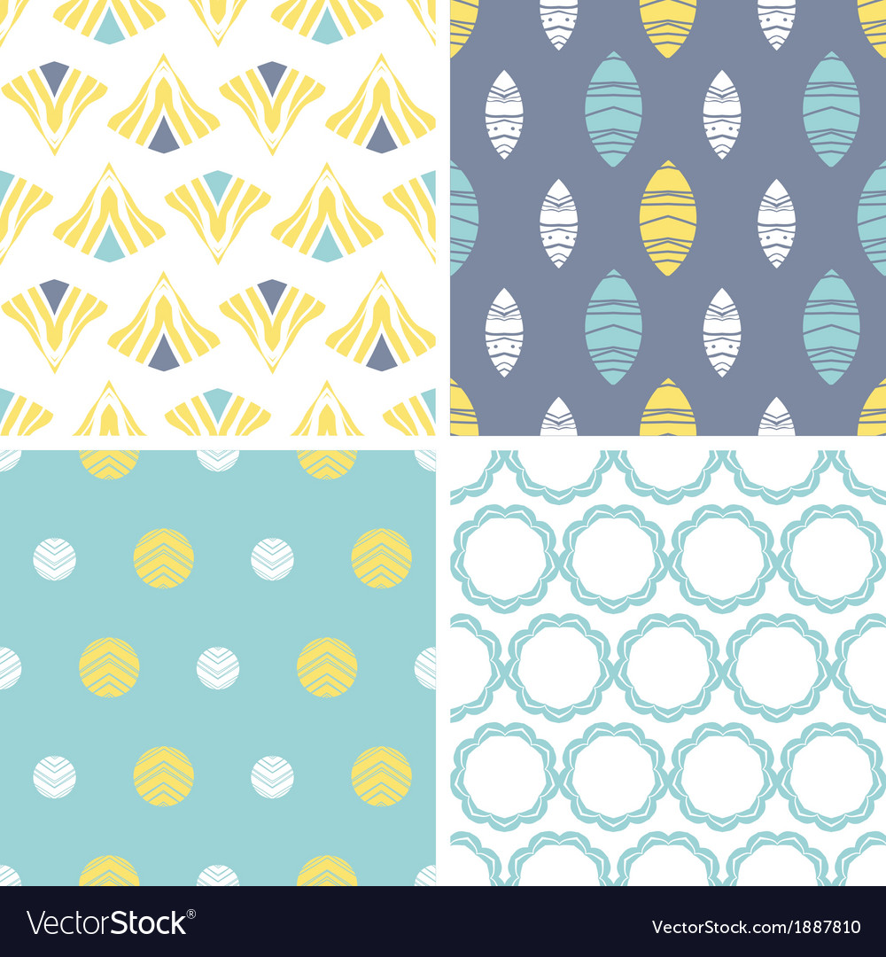 Four abstract fun motives seamless patterns set vector | Price: 1 Credit (USD $1)