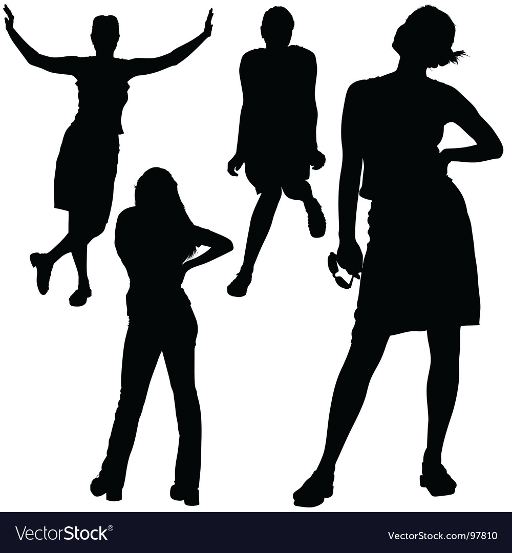 Girl silhouettes vector | Price: 1 Credit (USD $1)