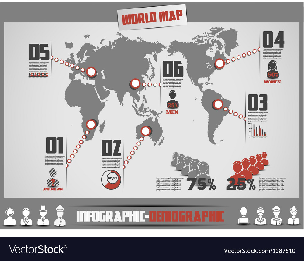 Infographics map template vector | Price: 1 Credit (USD $1)