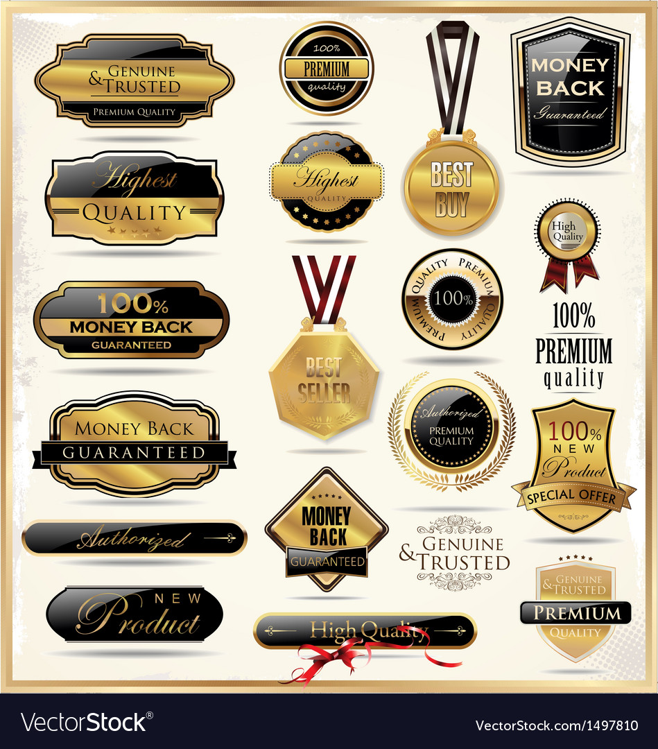 Luxury gold and black labels vector | Price: 3 Credit (USD $3)