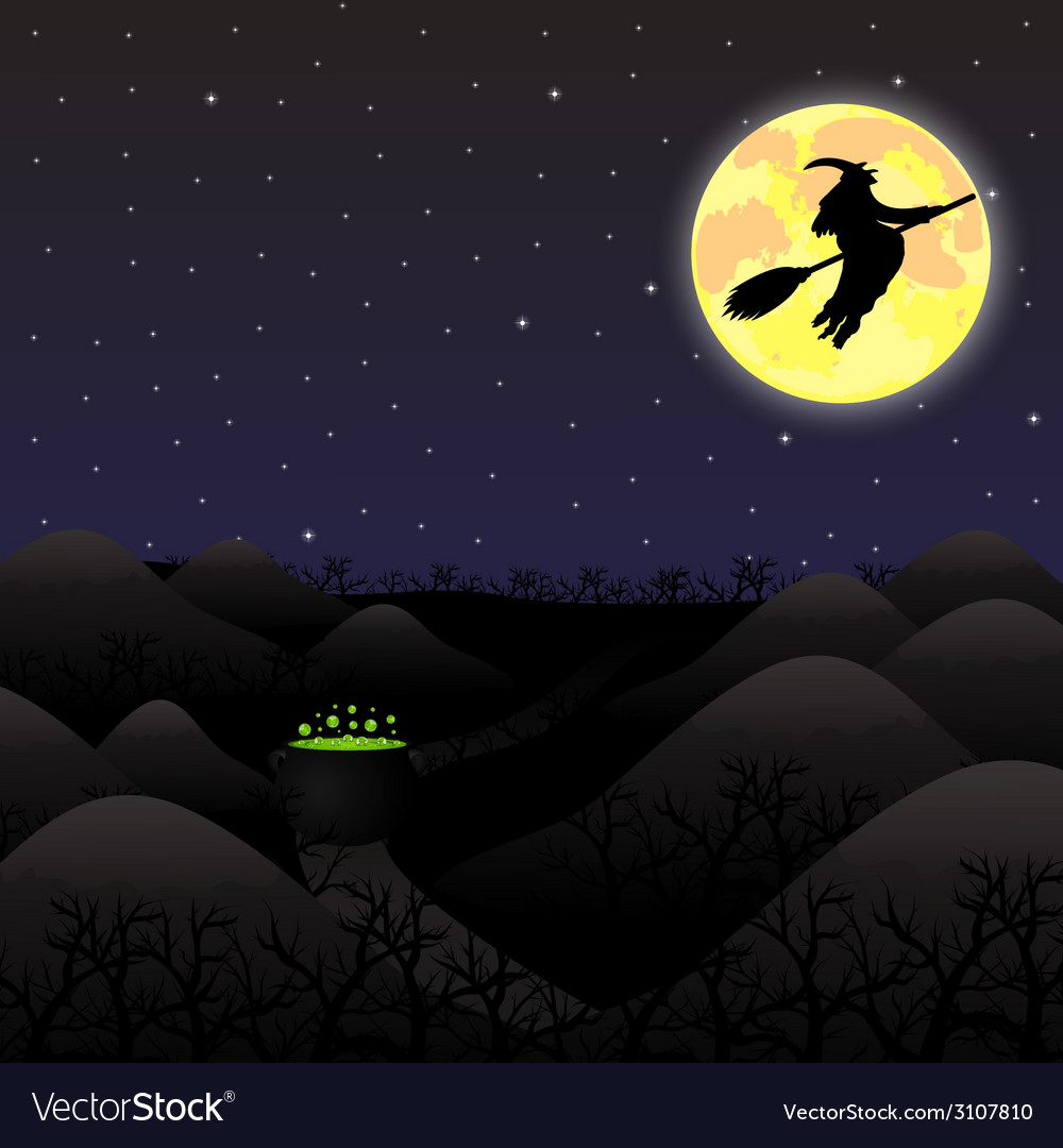 Night landscape under a full moon on halloween vector | Price: 1 Credit (USD $1)