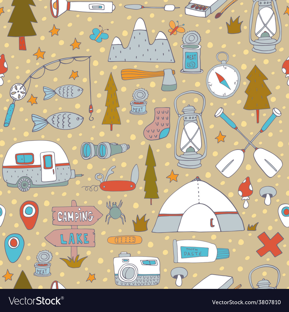 Seamless pattern with adventure equipment vector   Price: 1 Credit (USD $1)
